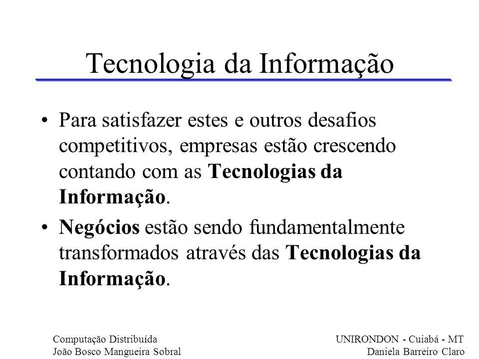 Tecnologia da Informação Para satisfazer estes e outros desafios competitivos, empresas estão crescendo contando com as Tecnologias da Informação. Neg