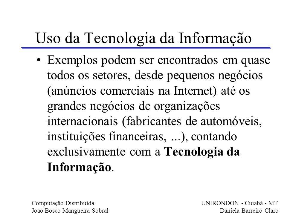 Uso da Tecnologia da Informação Exemplos podem ser encontrados em quase todos os setores, desde pequenos negócios (anúncios comerciais na Internet) at