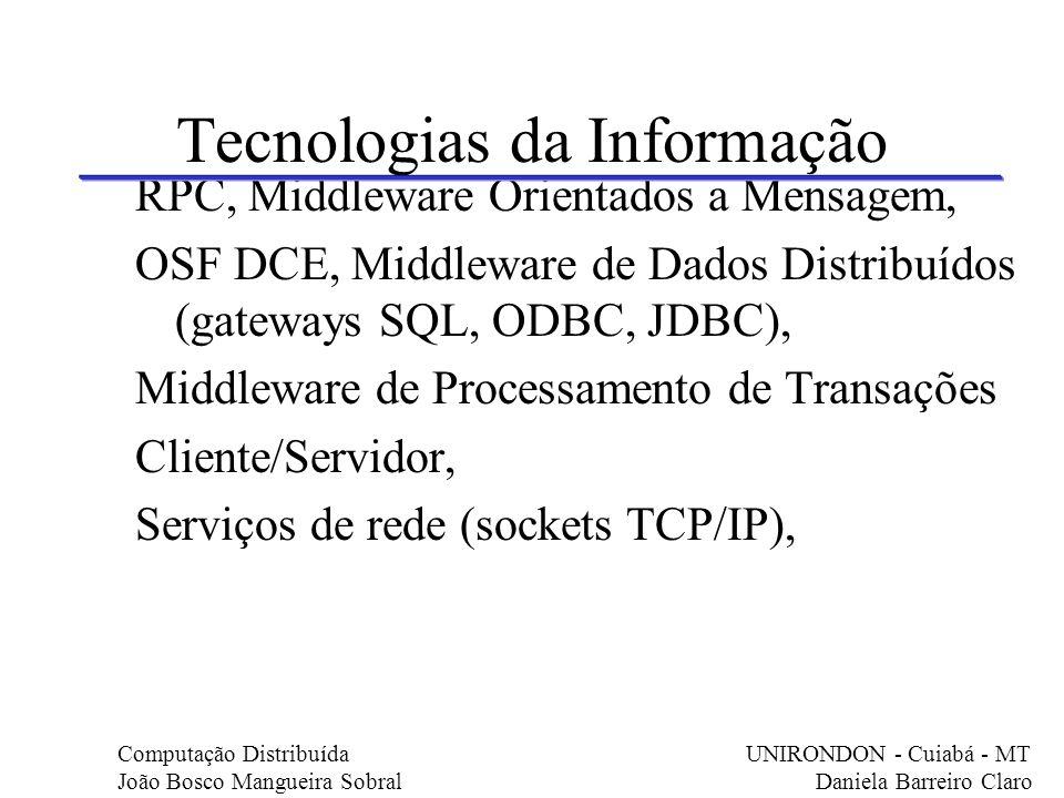 Tecnologias da Informação RPC, Middleware Orientados a Mensagem, OSF DCE, Middleware de Dados Distribuídos (gateways SQL, ODBC, JDBC), Middleware de P