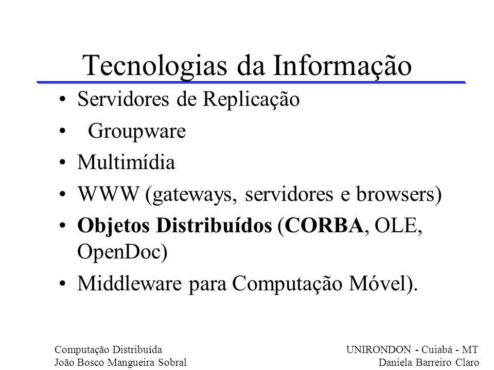 Tecnologias da Informação Servidores de Replicação Groupware Multimídia WWW (gateways, servidores e browsers) Objetos Distribuídos (CORBA, OLE, OpenDo