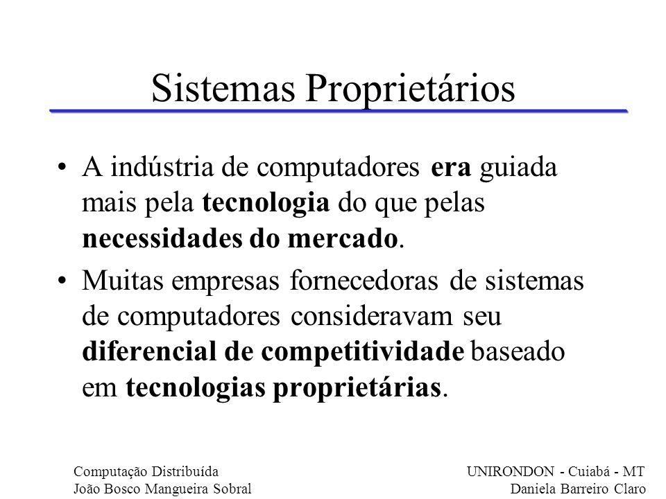 Sistemas Proprietários A indústria de computadores era guiada mais pela tecnologia do que pelas necessidades do mercado. Muitas empresas fornecedoras