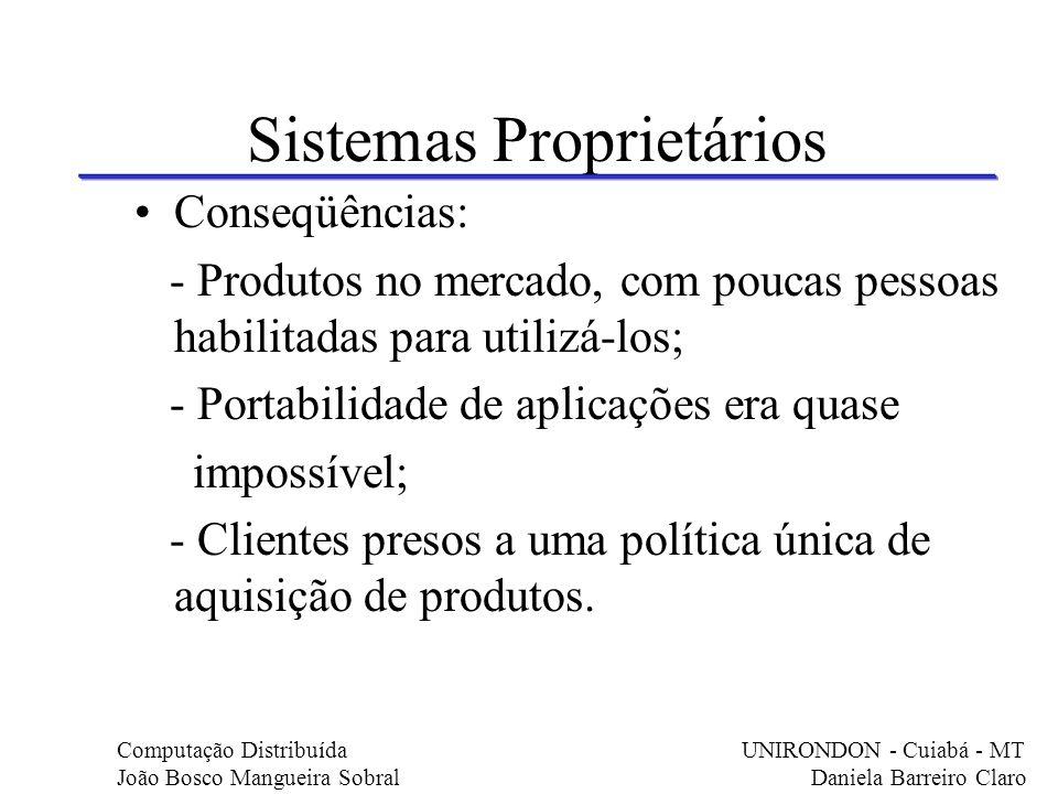 Sistemas Proprietários Conseqüências: - Produtos no mercado, com poucas pessoas habilitadas para utilizá-los; - Portabilidade de aplicações era quase