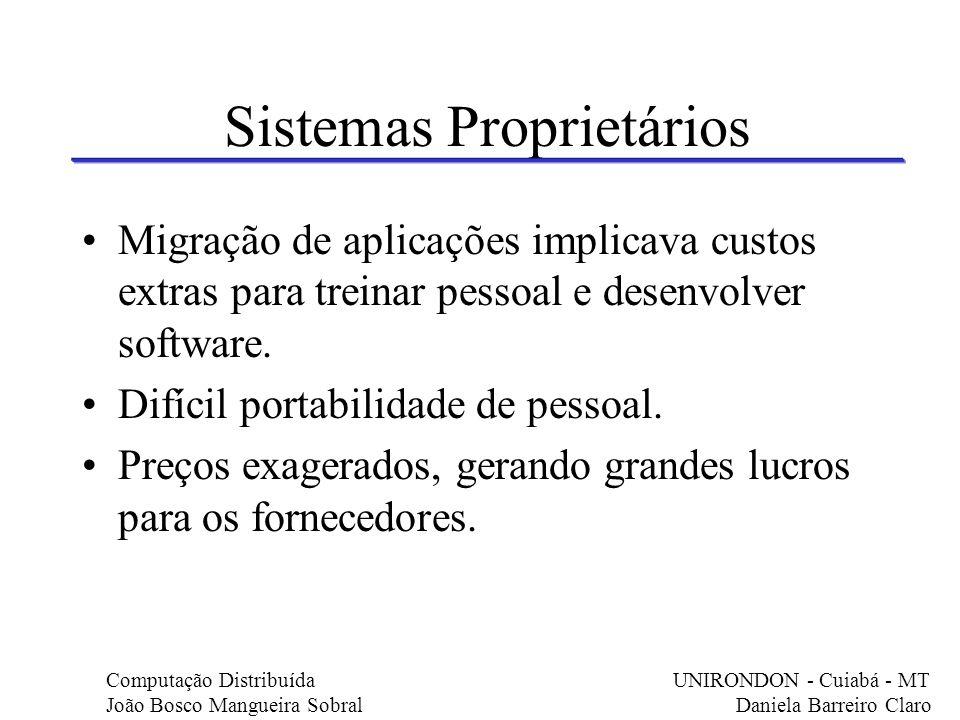 Sistemas Proprietários Migração de aplicações implicava custos extras para treinar pessoal e desenvolver software. Difícil portabilidade de pessoal. P