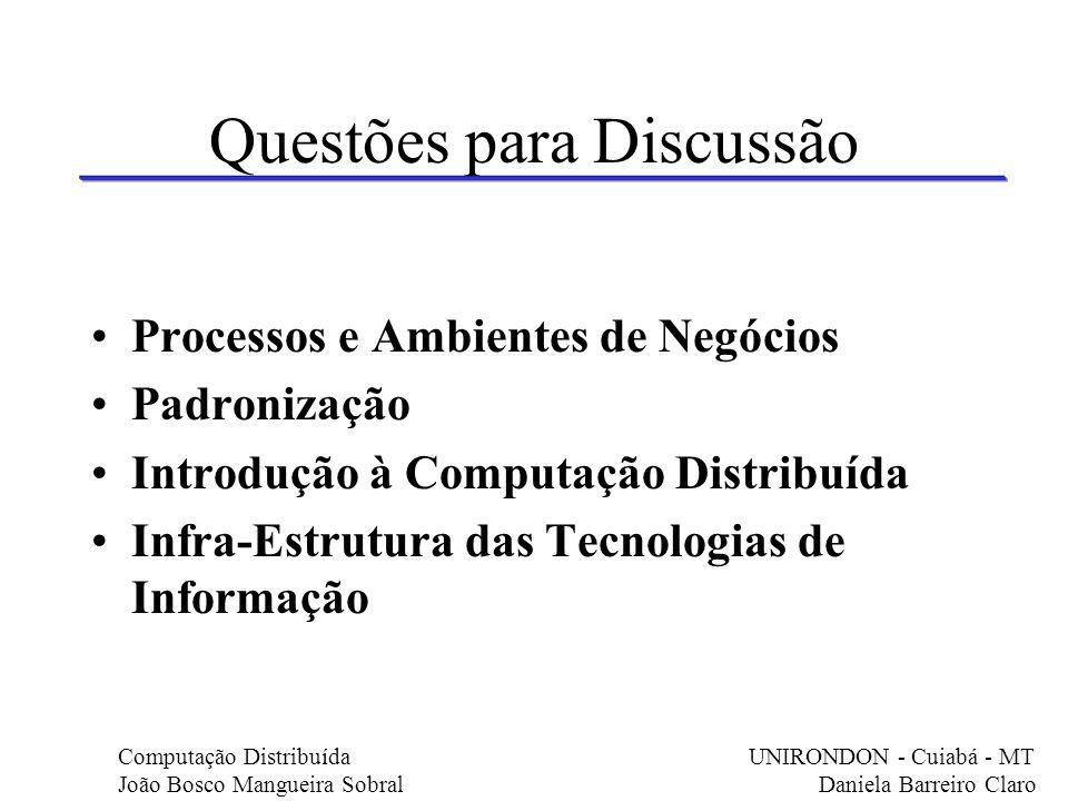 Questões para Discussão Processos e Ambientes de Negócios Padronização Introdução à Computação Distribuída Infra-Estrutura das Tecnologias de Informaç
