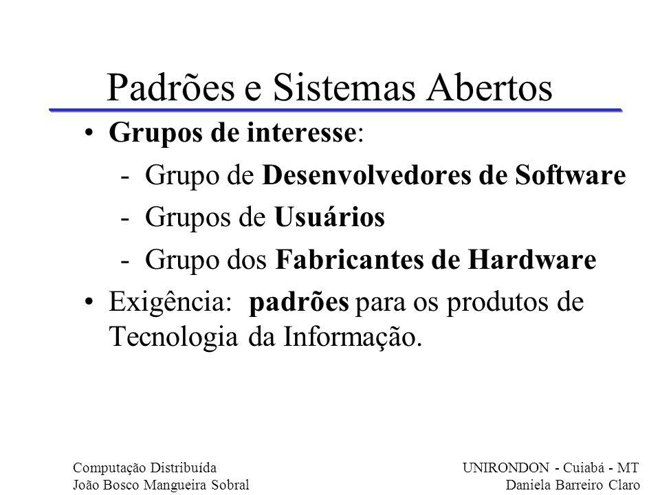 Padrões e Sistemas Abertos Grupos de interesse: - Grupo de Desenvolvedores de Software - Grupos de Usuários - Grupo dos Fabricantes de Hardware Exigên