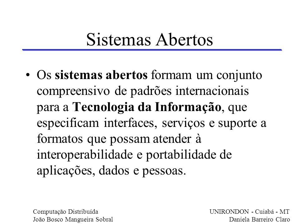 Sistemas Abertos Os sistemas abertos formam um conjunto compreensivo de padrões internacionais para a Tecnologia da Informação, que especificam interf