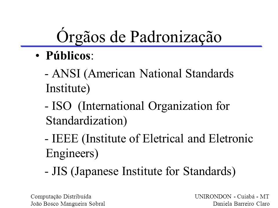Órgãos de Padronização Públicos: - ANSI (American National Standards Institute) - ISO (International Organization for Standardization) - IEEE (Institu