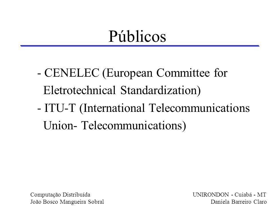 Públicos - CENELEC (European Committee for Eletrotechnical Standardization) - ITU-T (International Telecommunications Union- Telecommunications) Compu