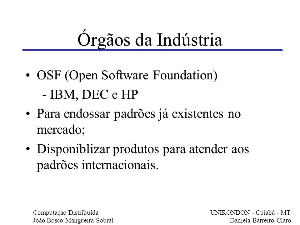 Órgãos da Indústria OSF (Open Software Foundation) - IBM, DEC e HP Para endossar padrões já existentes no mercado; Disponiblizar produtos para atender