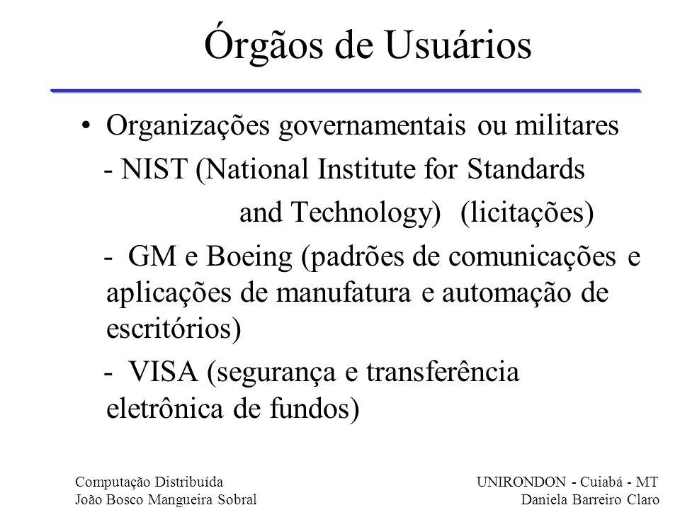 Órgãos de Usuários Organizações governamentais ou militares - NIST (National Institute for Standards and Technology) (licitações) - GM e Boeing (padrõ