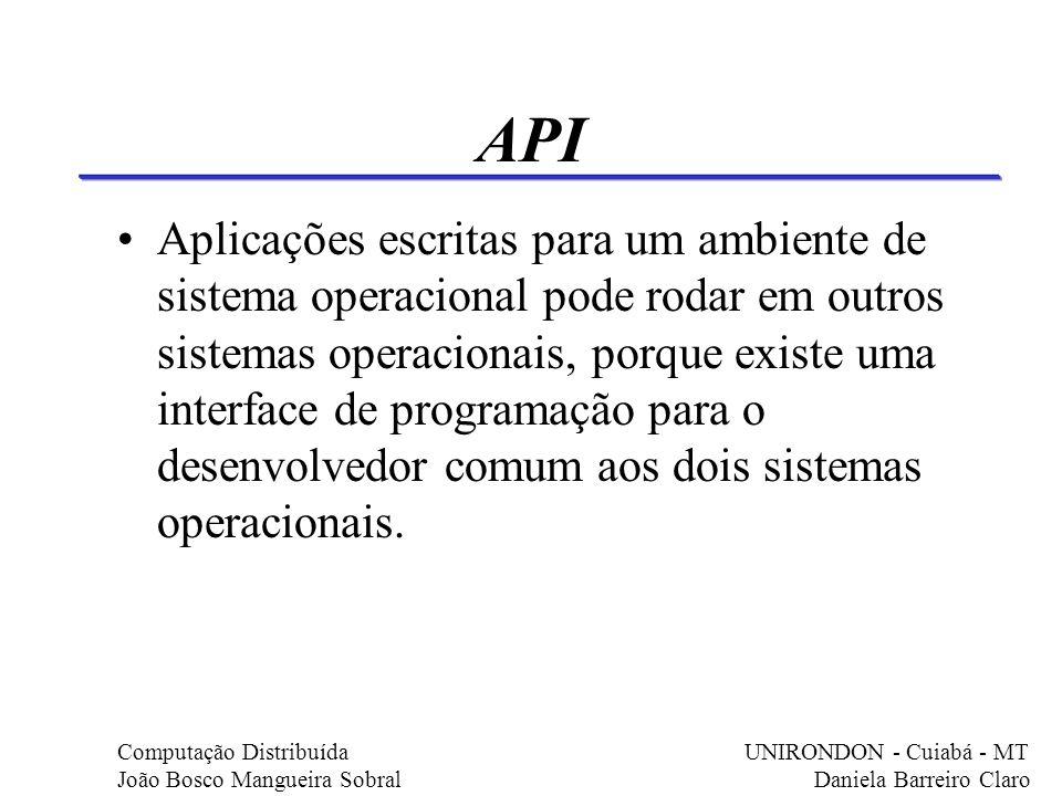 API Aplicações escritas para um ambiente de sistema operacional pode rodar em outros sistemas operacionais, porque existe uma interface de programação