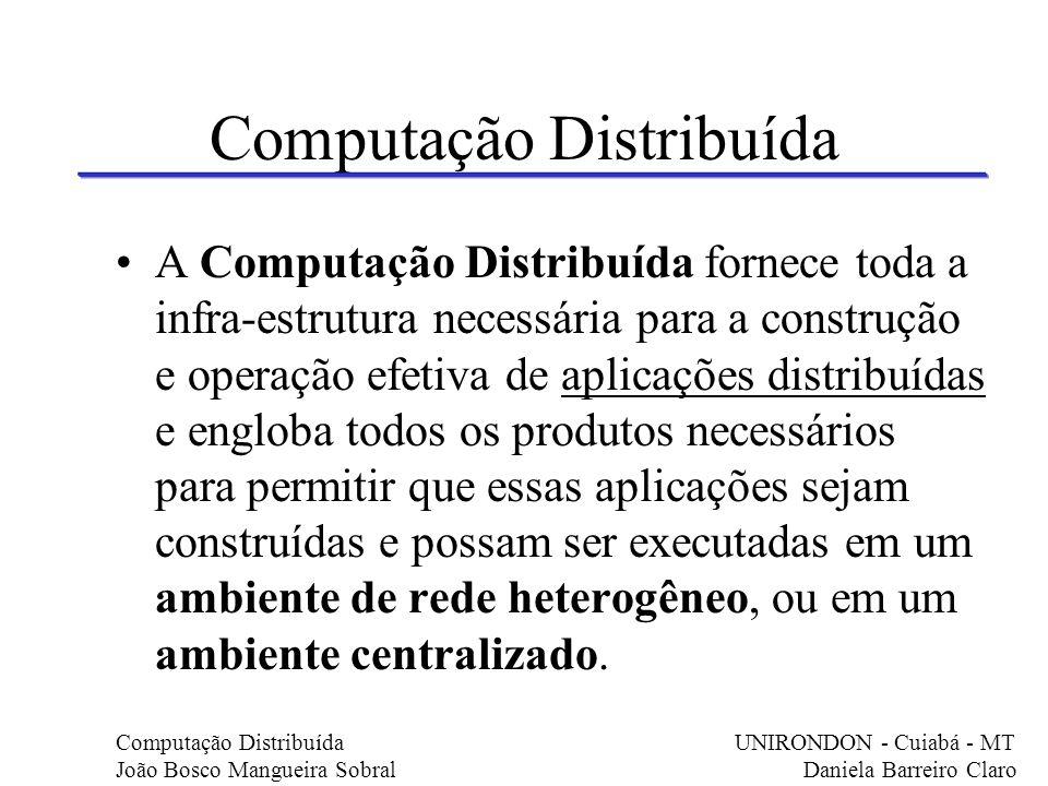 Computação Distribuída A Computação Distribuída fornece toda a infra-estrutura necessária para a construção e operação efetiva de aplicações distribuí