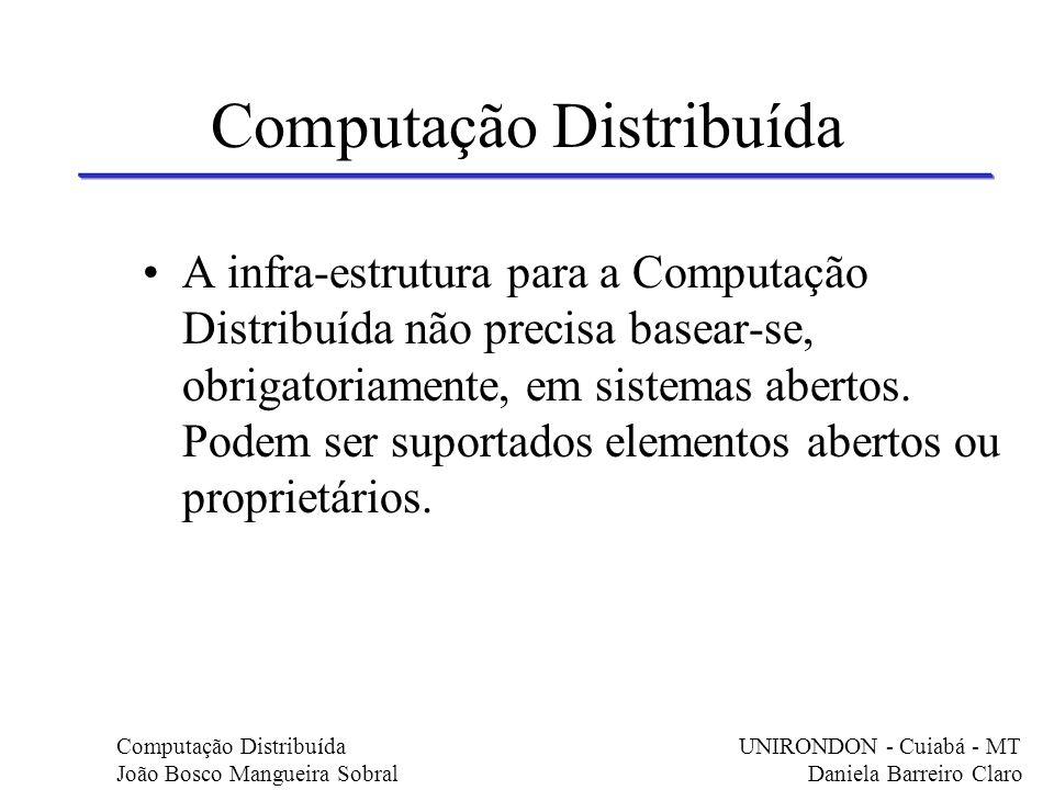 Computação Distribuída A infra-estrutura para a Computação Distribuída não precisa basear-se, obrigatoriamente, em sistemas abertos. Podem ser suporta
