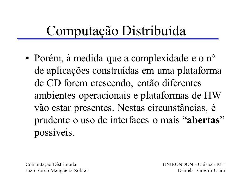 Computação Distribuída Porém, à medida que a complexidade e o n° de aplicações construídas em uma plataforma de CD forem crescendo, então diferentes a