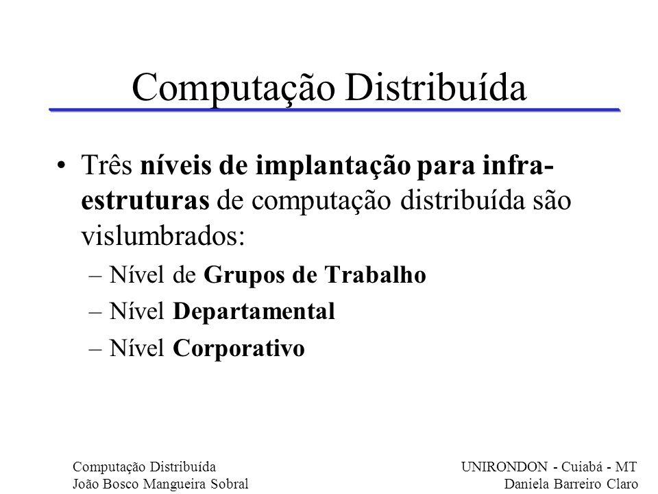 Computação Distribuída Três níveis de implantação para infra- estruturas de computação distribuída são vislumbrados: –Nível de Grupos de Trabalho –Nív