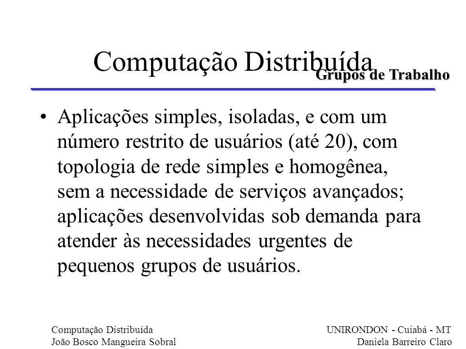 Computação Distribuída Aplicações simples, isoladas, e com um número restrito de usuários (até 20), com topologia de rede simples e homogênea, sem a n