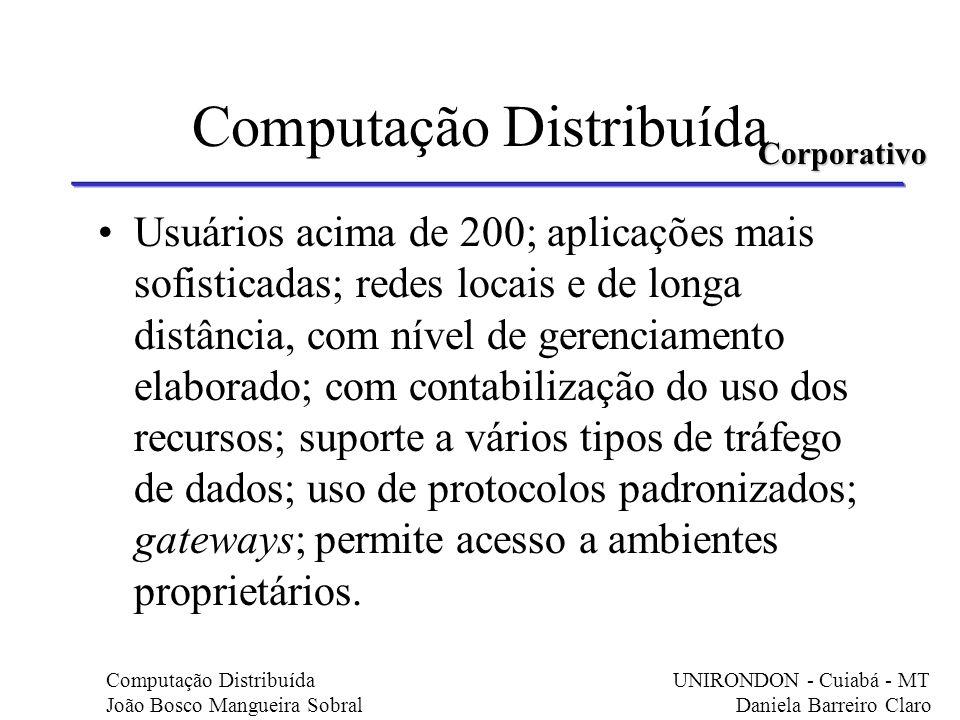 Computação Distribuída Usuários acima de 200; aplicações mais sofisticadas; redes locais e de longa distância, com nível de gerenciamento elaborado; c
