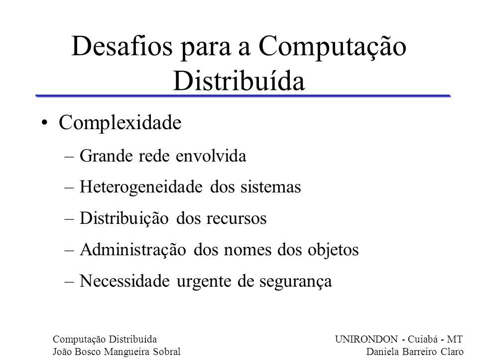 Desafios para a Computação Distribuída Complexidade –Grande rede envolvida –Heterogeneidade dos sistemas –Distribuição dos recursos –Administração dos