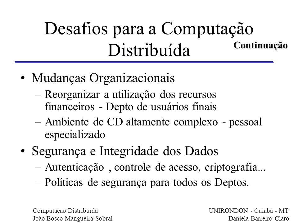 Desafios para a Computação Distribuída Mudanças Organizacionais –Reorganizar a utilização dos recursos financeiros - Depto de usuários finais –Ambient