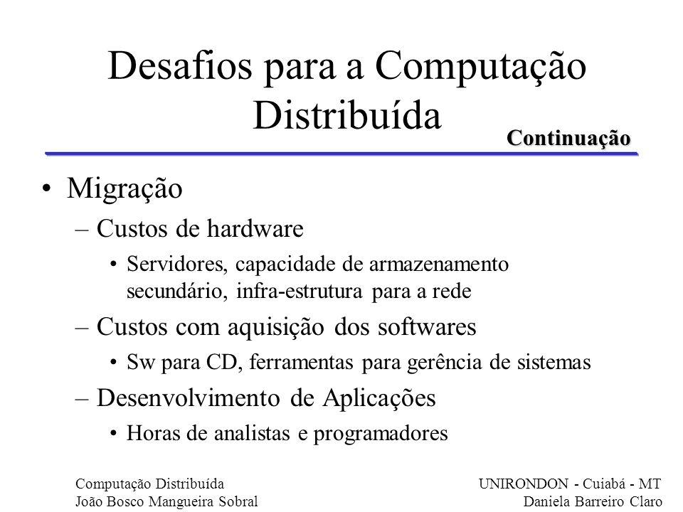 Migração –Custos de hardware Servidores, capacidade de armazenamento secundário, infra-estrutura para a rede –Custos com aquisição dos softwares Sw pa