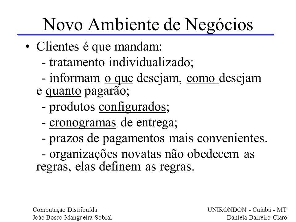 Novo Ambiente de Negócios Clientes é que mandam: - tratamento individualizado; - informam o que desejam, como desejam e quanto pagarão; - produtos con