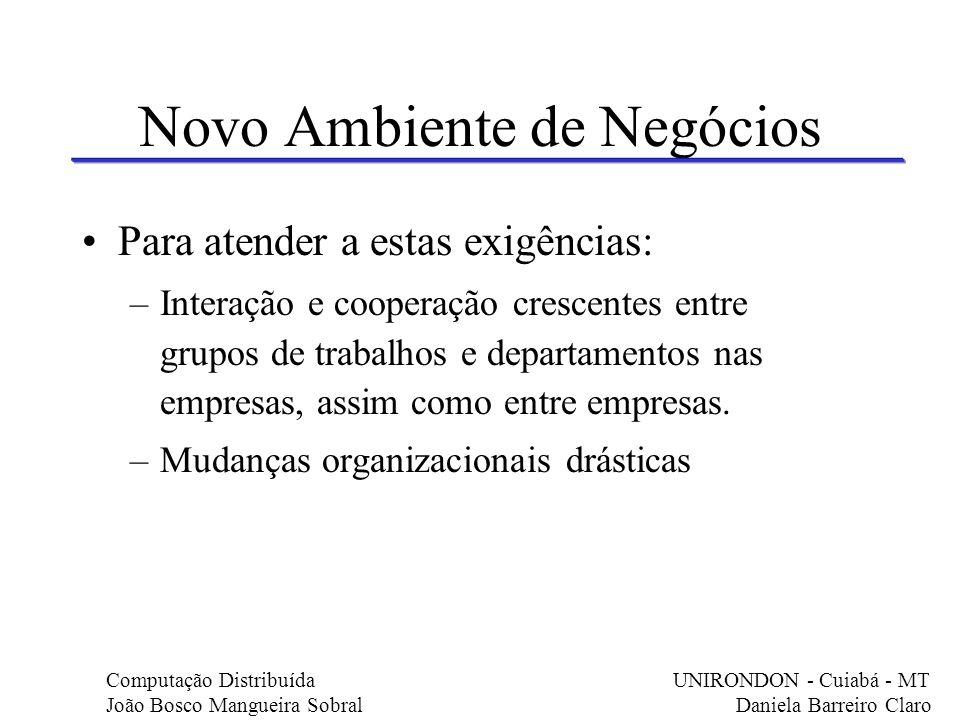 Novo Ambiente de Negócios Para atender a estas exigências: –Interação e cooperação crescentes entre grupos de trabalhos e departamentos nas empresas,