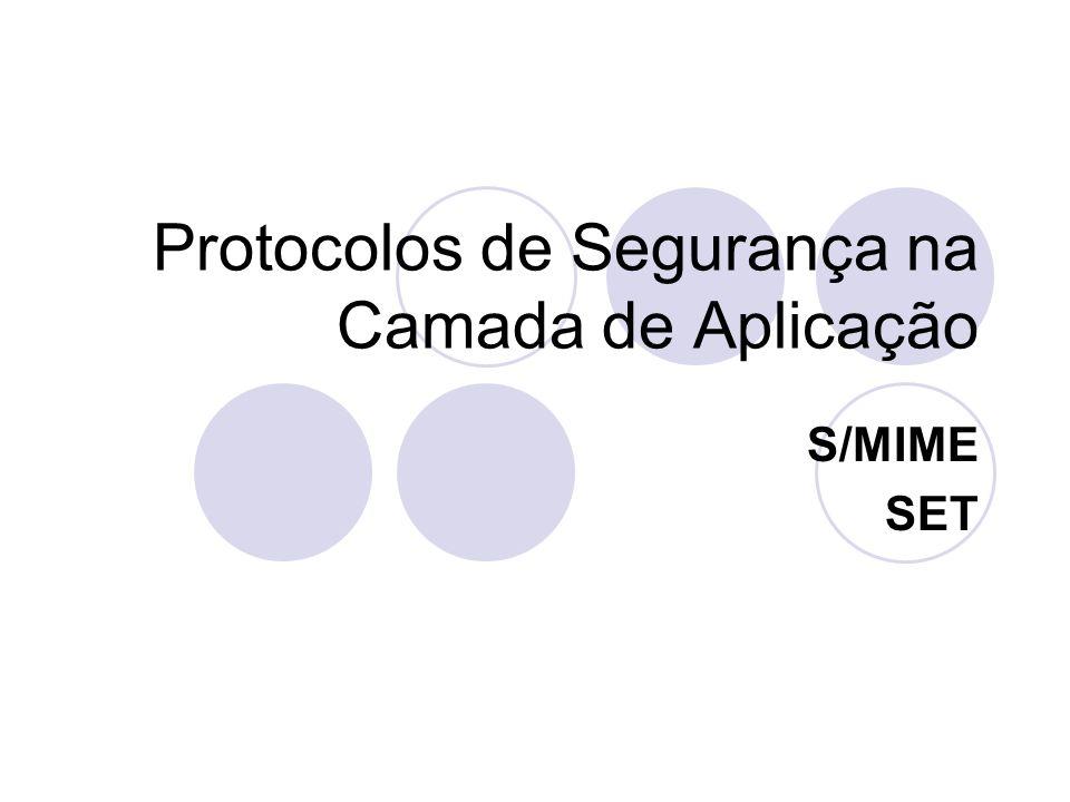 Protocolos de Segurança na Camada de Aplicação S/MIME SET