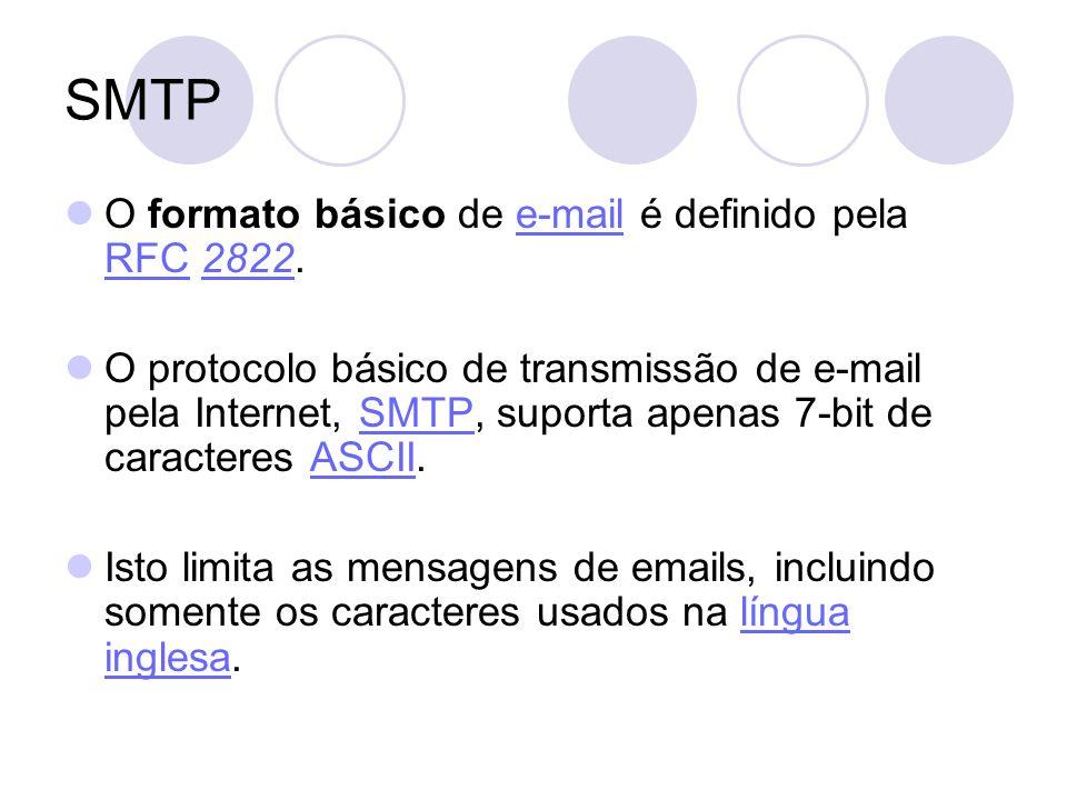 SMTP O formato básico de e-mail é definido pela RFC 2822.e-mail RFC2822 O protocolo básico de transmissão de e-mail pela Internet, SMTP, suporta apenas 7-bit de caracteres ASCII.SMTPASCII Isto limita as mensagens de emails, incluindo somente os caracteres usados na língua inglesa.língua inglesa