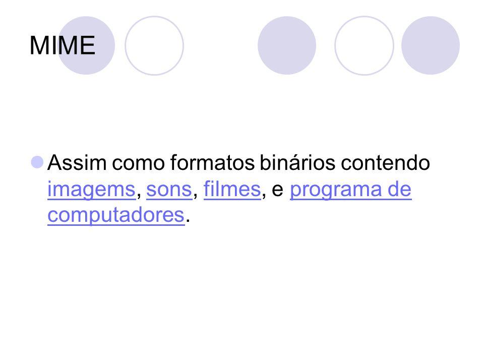 SMTP/MIME Mensagens de email, dentro e fora do formato MIME, é tipicamente utilizado pelos clientes de email ou pelos servidores de email quando enviam ou recebem emails via SMTP/MIME.clientes de email