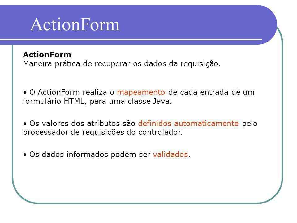 O ActionForm realiza o mapeamento de cada entrada de um formulário HTML, para uma classe Java. Os valores dos atributos são definidos automaticamente
