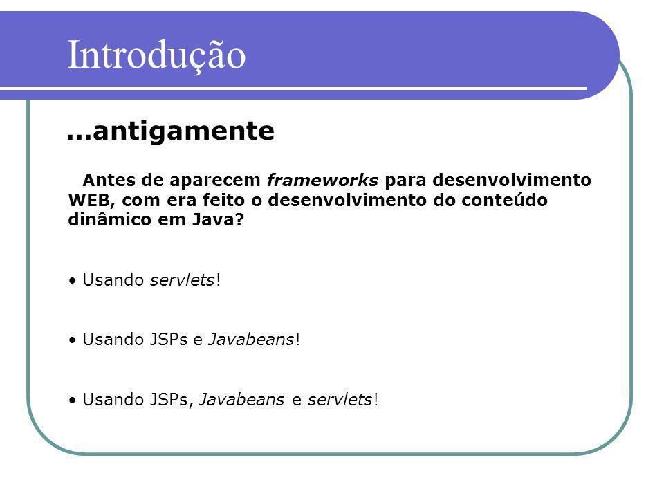 Antes de aparecem frameworks para desenvolvimento WEB, com era feito o desenvolvimento do conteúdo dinâmico em Java? Usando servlets! Usando JSPs e Ja