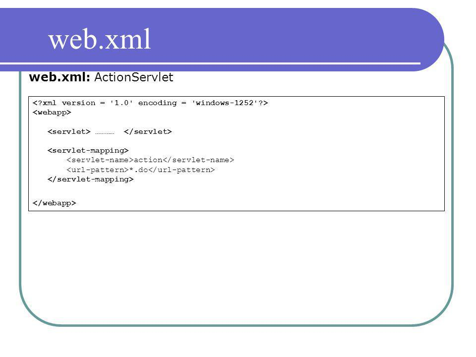 ………… action *.do web.xml web.xml: ActionServlet