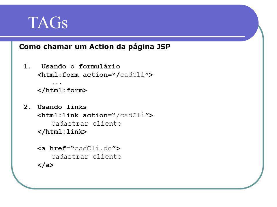 1. Usando o formulário... 2.Usando links Cadastrar cliente Cadastrar cliente Como chamar um Action da página JSP TAGs