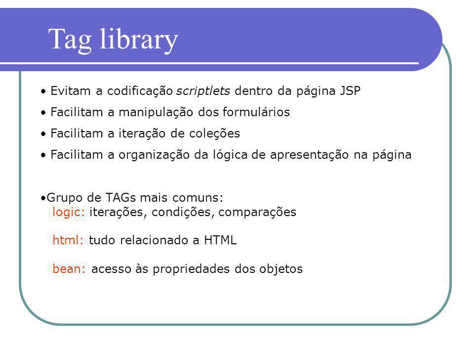 Evitam a codificação scriptlets dentro da página JSP Facilitam a manipulação dos formulários Facilitam a iteração de coleções Facilitam a organização