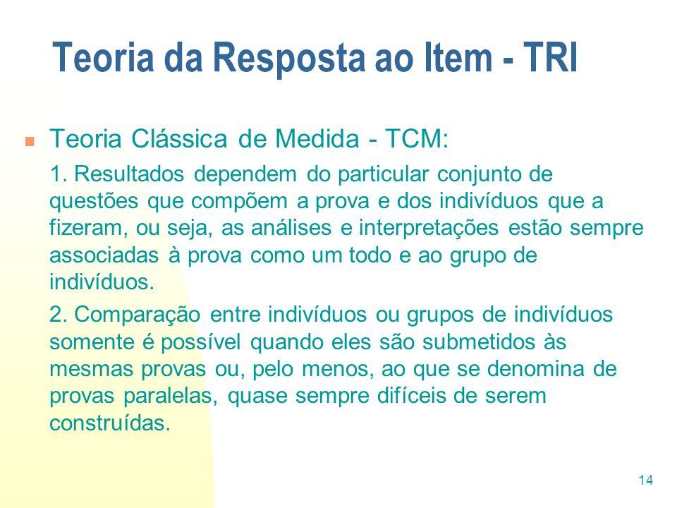 14 Teoria da Resposta ao Item - TRI Teoria Clássica de Medida - TCM: 1. Resultados dependem do particular conjunto de questões que compõem a prova e d