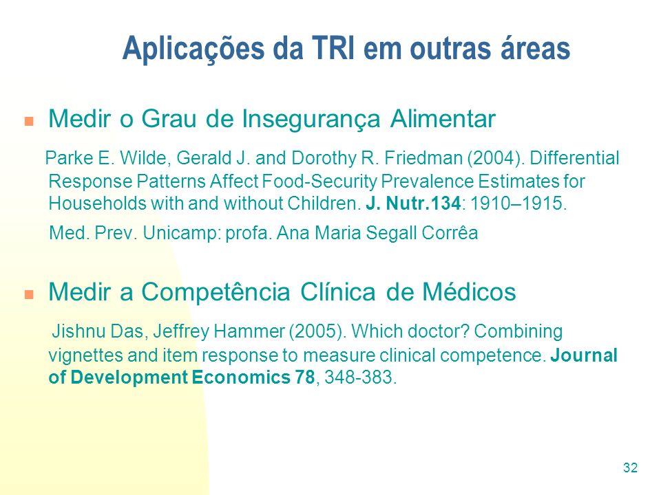 32 Aplicações da TRI em outras áreas Medir o Grau de Insegurança Alimentar Parke E. Wilde, Gerald J. and Dorothy R. Friedman (2004). Differential Resp