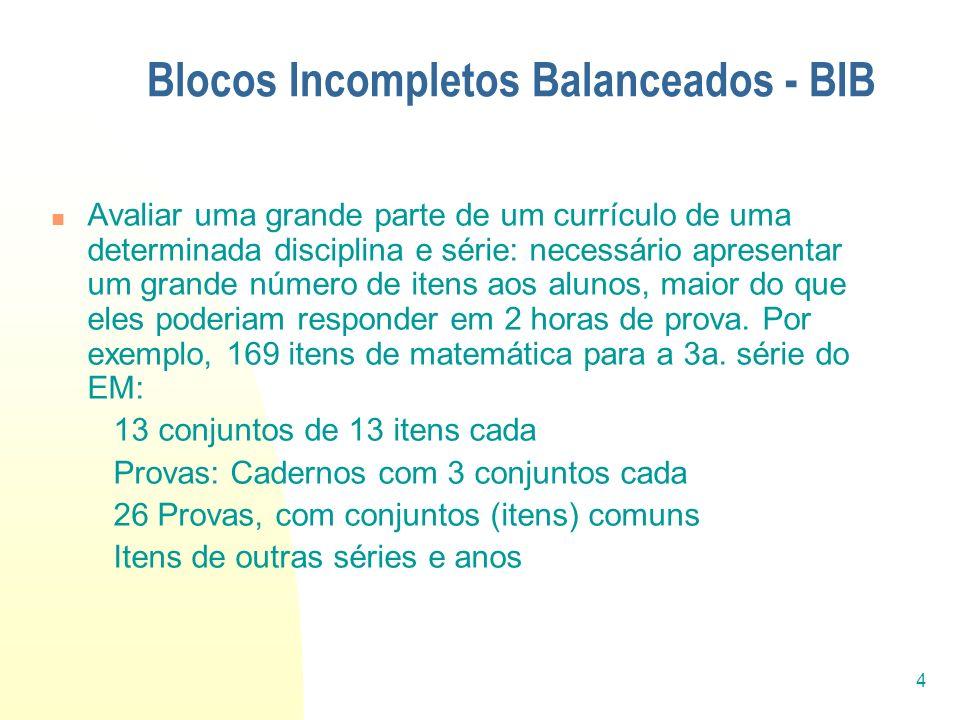 4 Blocos Incompletos Balanceados - BIB Avaliar uma grande parte de um currículo de uma determinada disciplina e série: necessário apresentar um grande