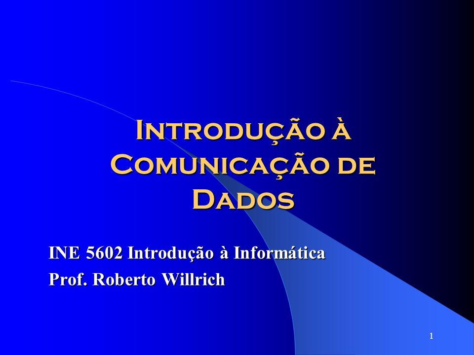 1 Introdução à Comunicação de Dados INE 5602 Introdução à Informática Prof. Roberto Willrich