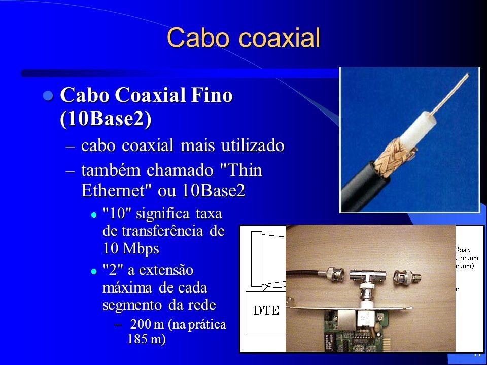 11 Cabo coaxial Cabo Coaxial Fino (10Base2) Cabo Coaxial Fino (10Base2) – cabo coaxial mais utilizado – também chamado