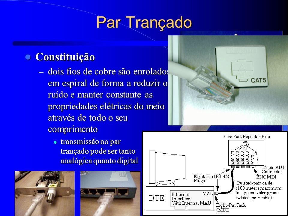 13 Par Trançado Constituição Constituição – dois fios de cobre são enrolados em espiral de forma a reduzir o ruído e manter constante as propriedades