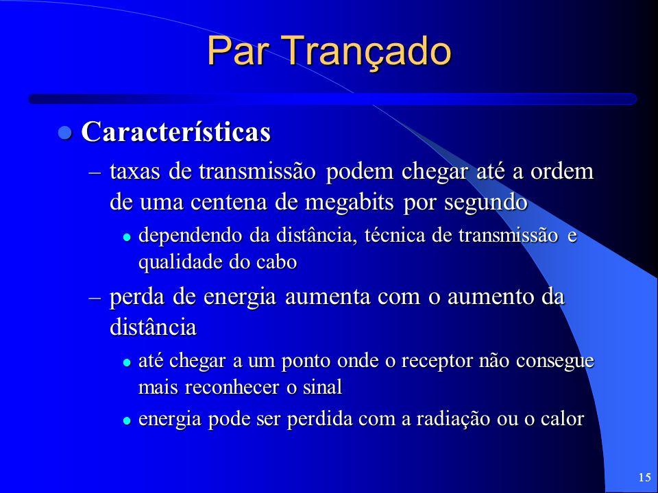 15 Par Trançado Características Características – taxas de transmissão podem chegar até a ordem de uma centena de megabits por segundo dependendo da d