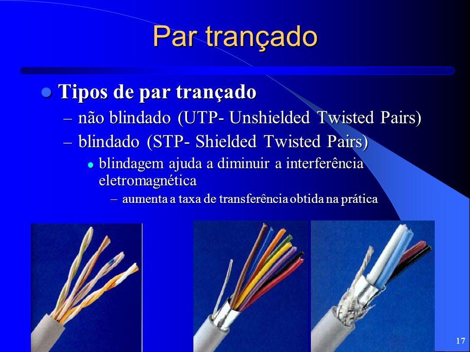17 Par trançado Tipos de par trançado Tipos de par trançado – não blindado (UTP- Unshielded Twisted Pairs) – blindado (STP- Shielded Twisted Pairs) bl