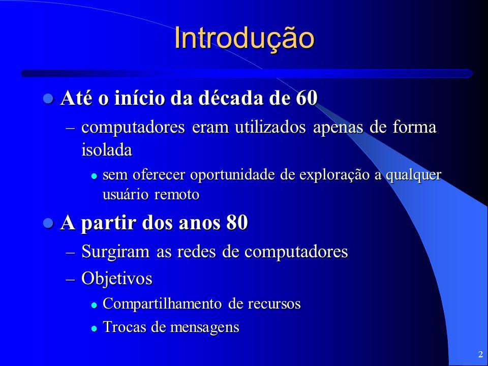 2 Introdução Até o início da década de 60 Até o início da década de 60 – computadores eram utilizados apenas de forma isolada sem oferecer oportunidad