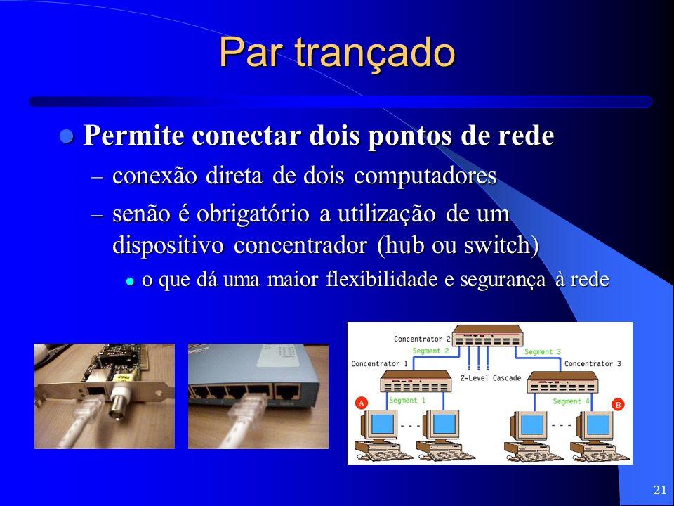 21 Par trançado Permite conectar dois pontos de rede Permite conectar dois pontos de rede – conexão direta de dois computadores – senão é obrigatório