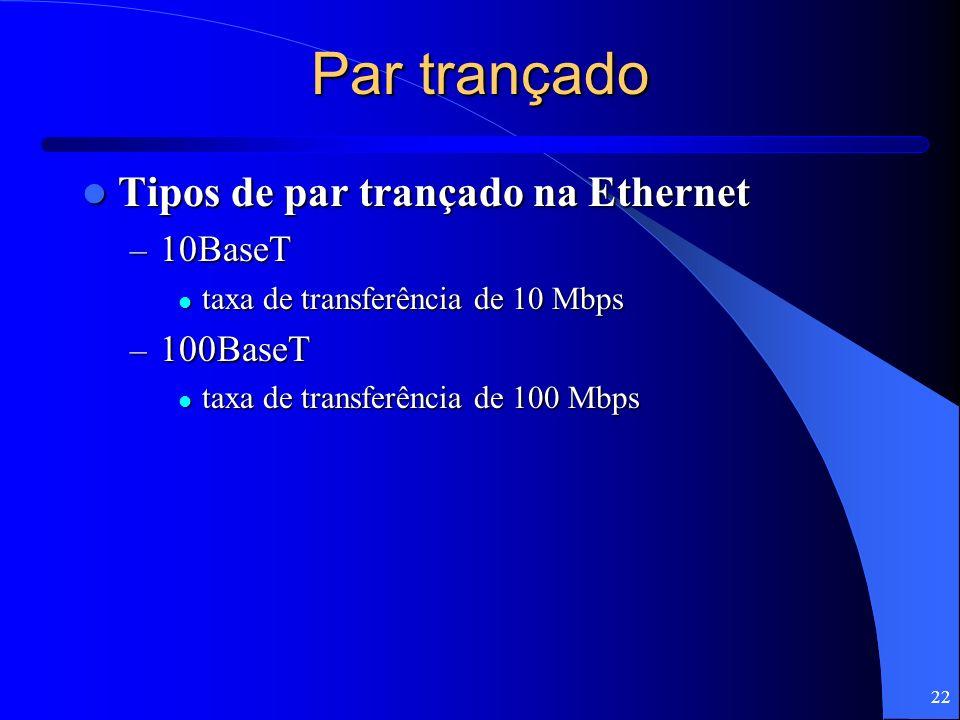 22 Par trançado Tipos de par trançado na Ethernet Tipos de par trançado na Ethernet – 10BaseT taxa de transferência de 10 Mbps taxa de transferência d