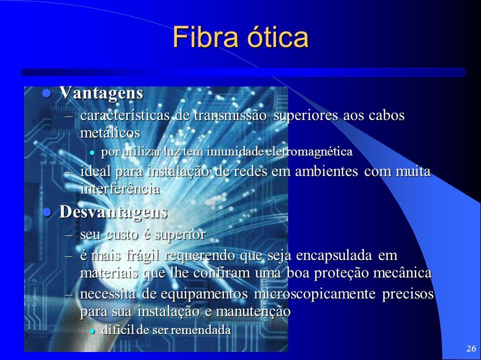 26 Fibra ótica Vantagens Vantagens – características de transmissão superiores aos cabos metálicos por utilizar luz tem imunidade eletromagnética por