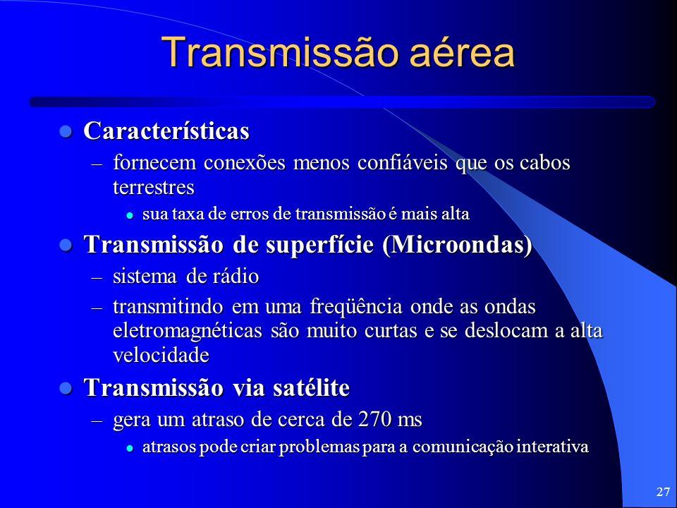 27 Transmissão aérea Características Características – fornecem conexões menos confiáveis que os cabos terrestres sua taxa de erros de transmissão é m