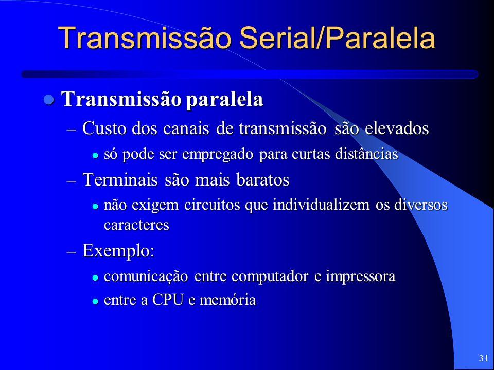 31 Transmissão Serial/Paralela Transmissão paralela Transmissão paralela – Custo dos canais de transmissão são elevados só pode ser empregado para cur