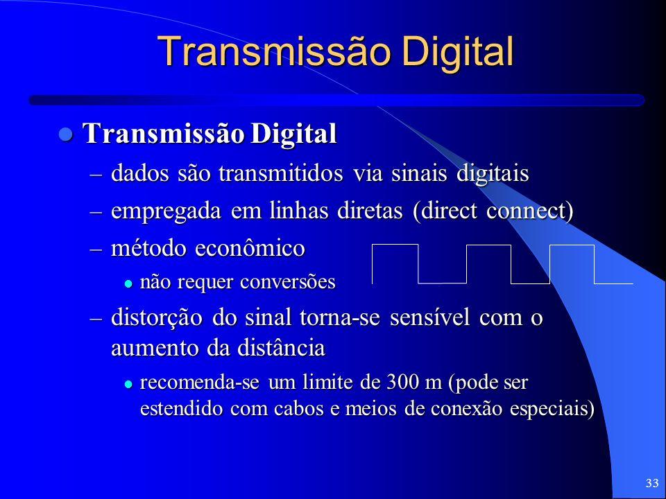33 Transmissão Digital Transmissão Digital Transmissão Digital – dados são transmitidos via sinais digitais – empregada em linhas diretas (direct conn