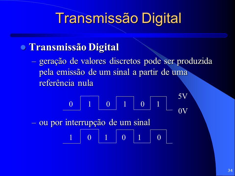 34 Transmissão Digital Transmissão Digital Transmissão Digital – geração de valores discretos pode ser produzida pela emissão de um sinal a partir de